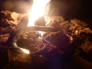 Gourmet campfire dinner